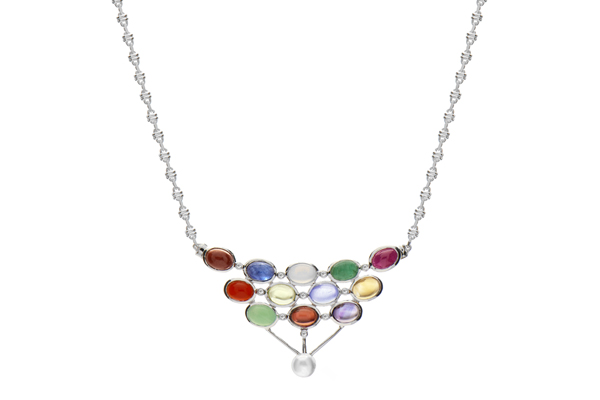 Photo of the Glimpse of Heaven Collection's Silver Elegant V Necklace with Fancy Chain.